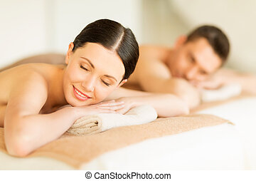 couple in spa - picture of couple in spa salon lying on the...