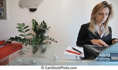 frustraded business woman working - young busy woman working...