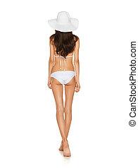 model posing in white bikini - picture of model posing in...