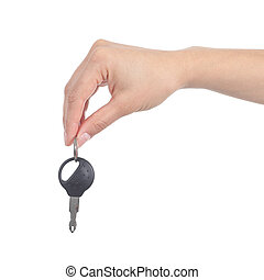 Side view of a woman hand giving a car key isolated on a...