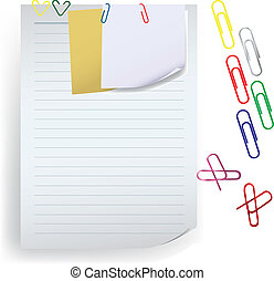 Memo note with paper clip vector - Memo note with paper clip...