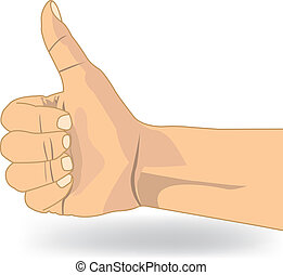 Thumb up like hand symbol vector isolate on white