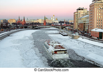 Moscow, Kremlin, winter evening