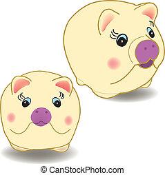 Cartoon pig - vector