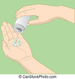 hand holding medicine vector - Hand with medicine pills...