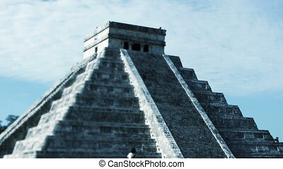timelapse of the mayan ruins at chichen itza, mexico. the...