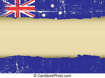 Australian scratched flag - An australian flag with a large...