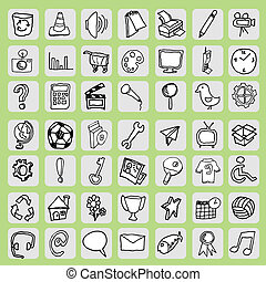 free hand icon - Freehand icon set is a vector illustration...