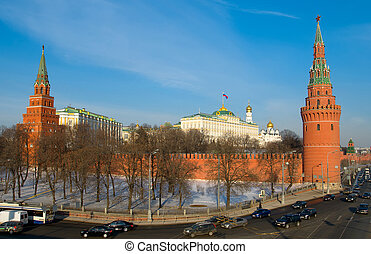 Winter day in Moscow, Russia (The Grand Kremlin Palace and...