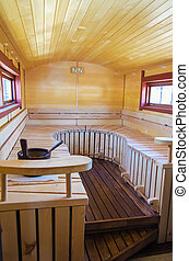 Mobile finnish sauna interior on wheels