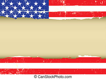 US scratched flag - An american grunge flag with a frame for...