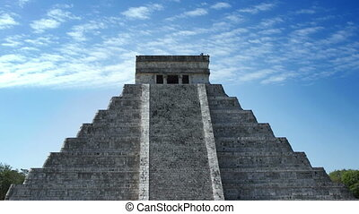 time-lapse of the mayan ruins at chichen itza, mexico. the...