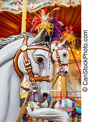 merry-go-round - horses on an old merry-go-round