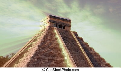 time-lapse of the mayan ruins at chichen itza, mexico the...