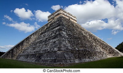 timelapse of the mayan ruins at chichen itza, yucatan,...