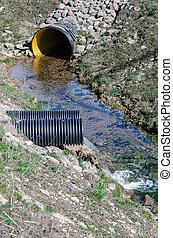 desperdicio, agua, tubo, Contaminar, ambiente