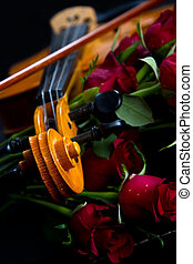 Violin on carry case - Violin in carry red case with sheet...