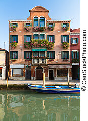 Palazzo with flowers, Venice, Italy