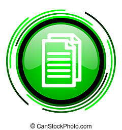 document green circle glossy icon