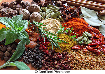 Herbs and spices composition. Cooking ingredients on a...