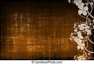 A Grunge Parchment Floral Background - A Grunge Parchment...