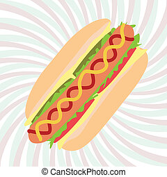 hotdog - illustration of hotdog sandwich with mustard,...