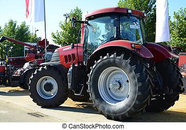 combinar, rojo,  tractor