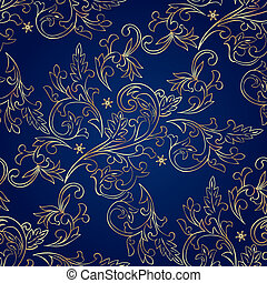 Floral vintage seamless pattern on blue background Vector...