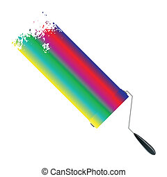 Paint rollers - Vector painted banners paint accessories in...