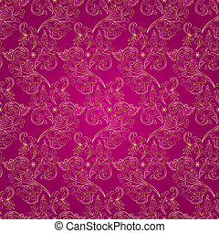 Floral vintage seamless pattern on pink background Vector...