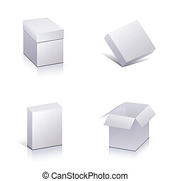 Set of blank packing Template open 3d boxes
