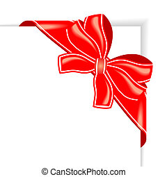 Page with red ribbon and bow corner