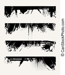 Set of grunge edges Vector illustration in black color