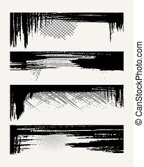 Set of grunge edges. Vector illustration in black color.