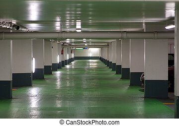 French Parking Garage - French parking garage with a green...