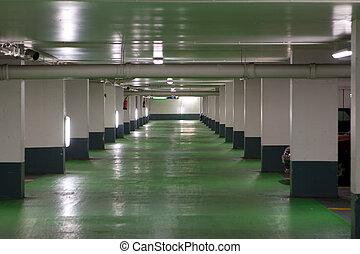 French Parking Garage - French parking garage with a green...