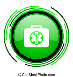 rescue kit green circle glossy icon