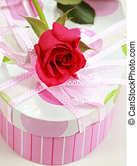 Present box and rose - Present box and red rose as symbol...