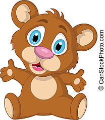 cute little brown bear cartoon - vector illustration of cute...