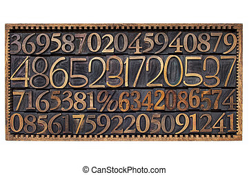 wood type numbers in a box - box of numbers - numerical...