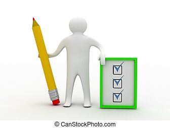 3d man with checklist