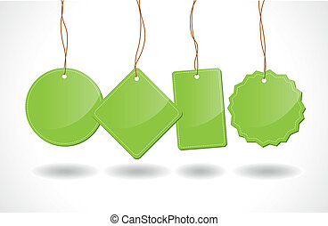 coloured tags - a set of green tags shapes