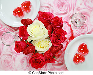 Table setting for Valentine - Table setting with rose...