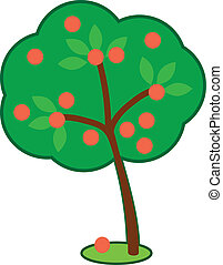 Cute Apple Tree - Vector cartoon of a cute apple tree with a...