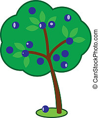 Cute Plum Tree - Vector cartoon of a cute plum tree with a...