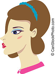 Bouffant Girl - Vector illustration of a brunette girl with...