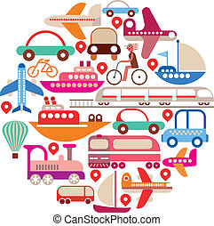 Travel and Transport - round vector - Travel and Transport -...