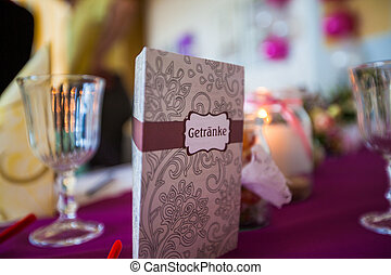 table decoration with card