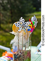 table decoration with sweets and windmills