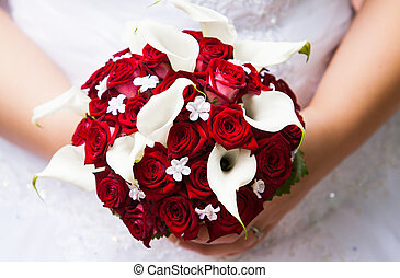 bridal bouquet - bride holding her wedding bouquet